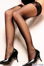 Bas autofixants Camilla Noir - Anne d'Alès : Sublimez vos jambes avec les bas en fine résille Camilla, des bas noirs autofixants créés par Anne d'Alès.