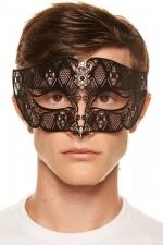 Masque vénitien King 8 - Masque vénitien pour homme en métal noir ciselé au laser décoré de gemmes.