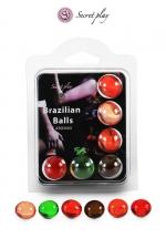 6 Brazilian Balls parfums variés : La chaleur du corps transforme la brazilian ball en liquide glissant parfumé, votre imagination s'en trouve exacerbée.