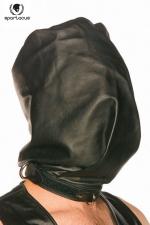 Spartacus Bag-Style Hood - Cagoule en cuir noir, opaque et coupée à la manière d'un sac pour faire monter la pression.