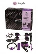 Kit BDSM 8 pièces - violet : Superbe kit de 8 pièces BDSM présenté dans une boite cadeau en métal.