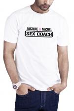 T-shirt Sex Coach blanc - Jacquie et Michel : Profitez du T-shirt Sex Coaching J&M pour offrir une formation gratuite et 100% naturelle à vos partenaires potentielles.