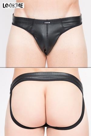 Jock Risk - Jpck strap aspect faux cuir, très sexy avec ses larges élastiques qui soulignent les fesses.