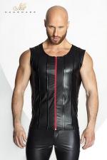 Veste STRONGER Red Line - Veste sans manches en wetlook mat, décorée de bandes verticales de vinyle brillant et d'un zip rouge vif.