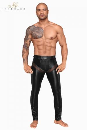 Pantalon wetlook et filet H059 - Pantalon moulant en powerwetlook mat et empiècements transparents de filet 3D, tout cela ultra sexy !