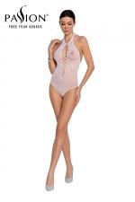 Body string résille BS088 - Blanc : Lingerie blanche body fantaisie résille de la marque Passion.